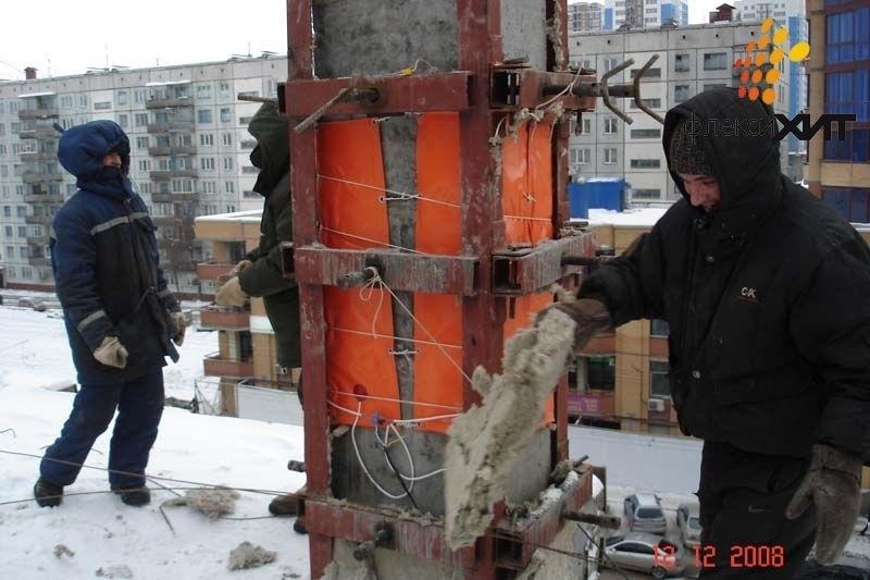 Прогрев бетонных колонн зимой.jpg